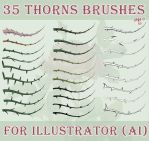 35 thorns brushes for Illustrator (AI) by jojo-ojoj
