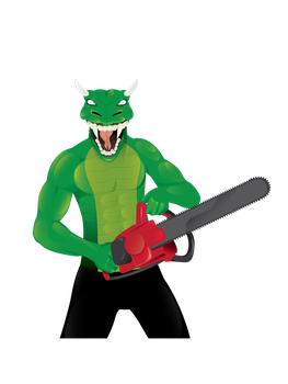LIZARD MAN WITH CHAINSAW by DISILLUSIONEDDESIGNS