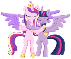 Princess Cadence and Princess Twilight hug -Collab by Fluttershy626
