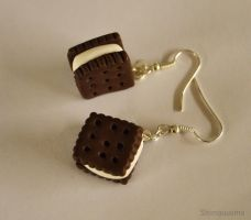 Small square cookie earrings by shimauuuma