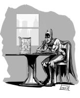 Warm Up Sketch - Batman Eating Lucky Charms by Ihlecreations