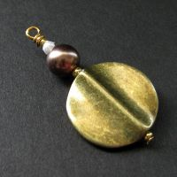 Pearl and Brass Purse Charm by Gilliauna