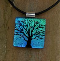 Blue Mix Tree of Life Glass by FusedElegance