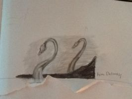 Glass Swan Next to Mirror by theoddlydifferentone