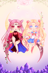 Sailor Moon and the Dark Lady Print by Saby-Cat