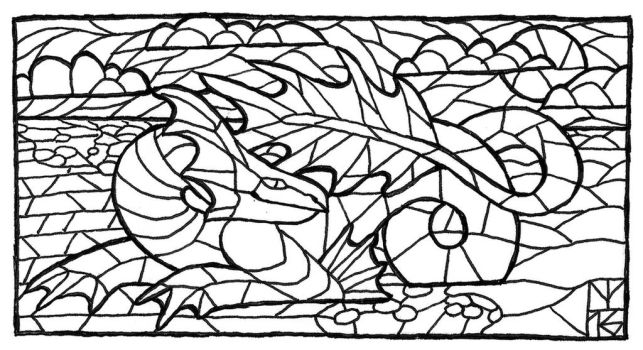 Inktober 18 (stained glass sea dragon) by AThousandRasps
