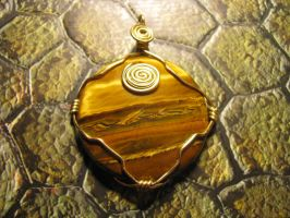Wire wrapped tigers eye by tk8247