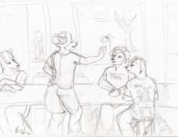 Lunch Room Tango WIP by selunca
