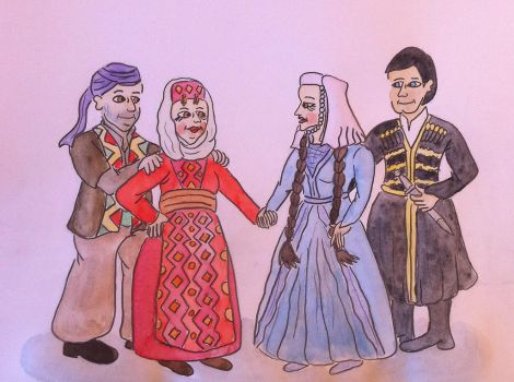 Folk Costumes of Armenia and Georgia (Caucasus) by Drawing-Count