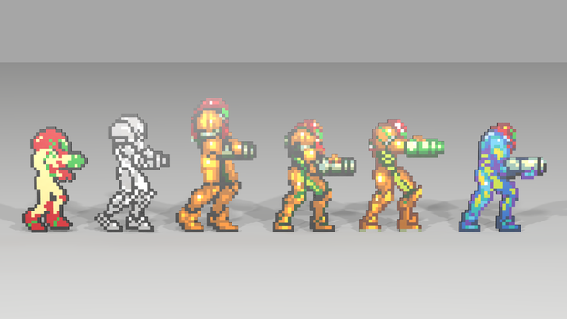 Samus Aran Over Time by mithrylaltaire