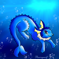 Vaporeon Underwater by racingwolf