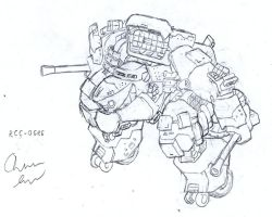 RCC heavy mech lineart by Auger-Affect