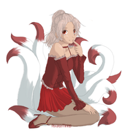 Gaia commish . Maroon Kyuubi by sporkful-of-hearts