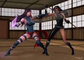 Commission: Psylocke vs OC Silhouette by iurypadilha