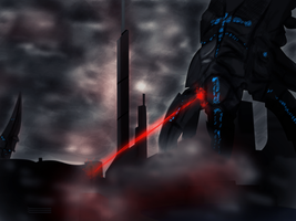 Reapers attacking Earth (Mass Effect 3) by MilleniaValmar