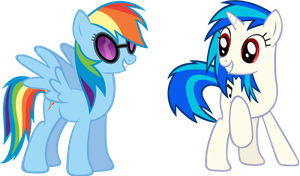 Rainbow Dash and Vinyl Scratch by Shelmo69