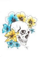 Skull with flower tattoo by Lechadias