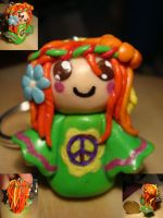 Hippie girl keychain by Elfain