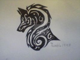 wolf head tribal by tumbles1998