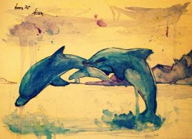 Watercolor Dolphins by stella-luna12