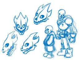 sketches - Gaster Blasters by Whimsy-Floof