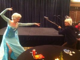 Jack Frost vs. Queen Elsa by NostalchicksCosplay