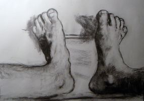 feet self study charcoal by HeribertoMartinez