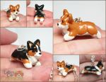 Corgi Pupple Necklaces by LeiliaClay