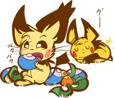 spiky ear and pikachu-coloured by spikyearpichu