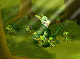 COMM: Serperior + Snivy Family by Lauzi