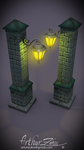 Low poly column-wall lantern by Saltano