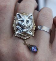 Cat face ring by Pinkabsinthe