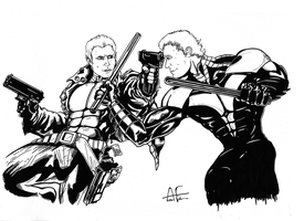 Red Hood vs. Nightwing - DKR (Inks) by Stone-Fever
