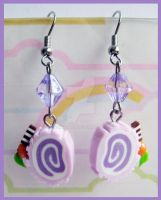 Purple Cake Roll Earrings by cherryboop