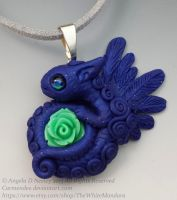Blue Bunny Dragon Pendant by carmendee