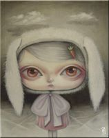 albino bunny and clouds by paulee1