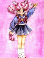 Chibiusa Going to School by aleena