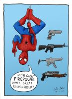 Spiderman and Guns by WibbitGuy
