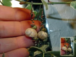 shell earrings with unakite by EerinVink