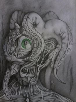 Original Pencil Drawing - Monster by tombirchall1