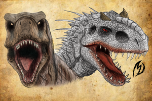 The Old Rexy and Indominus by maudrake