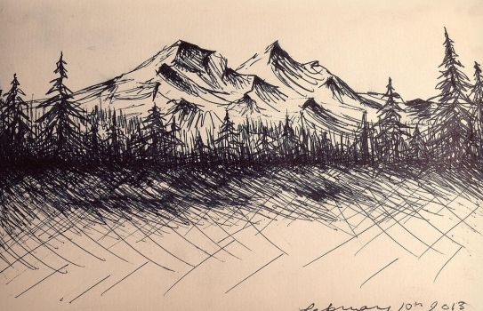 Mountain Drawing by alexandrabehn