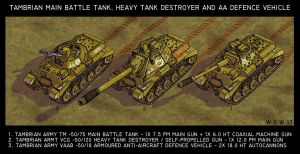 Tambrian MBT, heavy TD and armoured AA vehicle by wingsofwrath