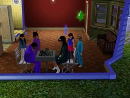 Sims 3 - Kitty challenges Eugene at chess game vid by Magic-Kristina-KW