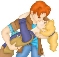 Wheeler and Linka Kissing by chesney