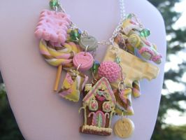 Polymer Pastel Colours Christmas Necklace by cynamonspice