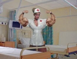 Buff Nurse - flexing her arms by califjenni3