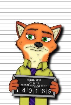 Nick Wilde: Police Mugshot (Vector) by Paradox-95