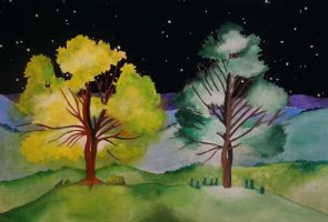 The two trees of Valinor by RobleskaZeppelin
