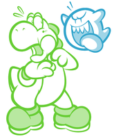 Yoshi and Boo Doodle by JamesmanTheRegenold